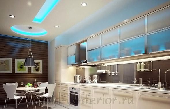 Подсветка на потолке и в рабочей зоне кухни