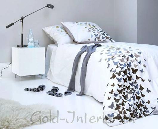 Белое постельное бельё с бабочками