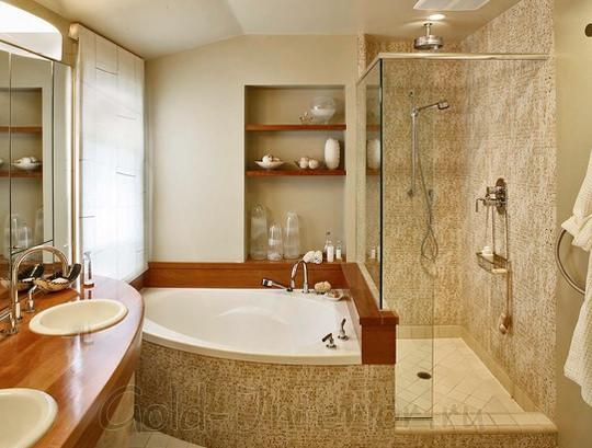 Природные оттенки коричневого в интерьере ванной