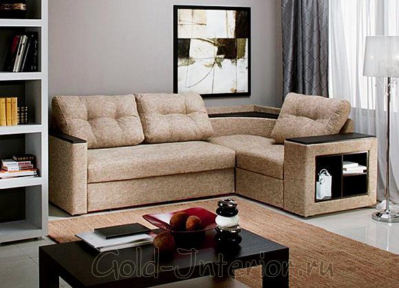 Прямоугольный угловой диван с полками
