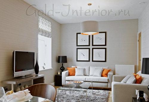 Пушистый ковёр в маленькой гостиной комнате