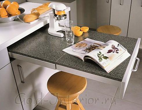 Рабочая поверхность выдвигается из кухонного ящика