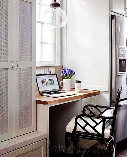 Рабочий кабинет в интерьере столовой-гостиной-кухни