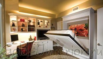Компактная раскладная кровать в интерьере спальни