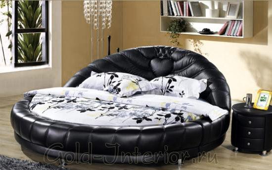 Респектабельная кожаная круглая кровать