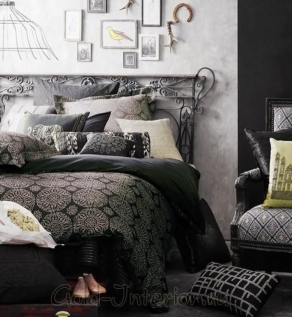 Респектабельный графитовый чёрный цвет в современной спальне