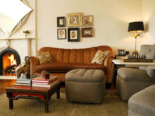 Рыжий диван + пуфы цвета хаки