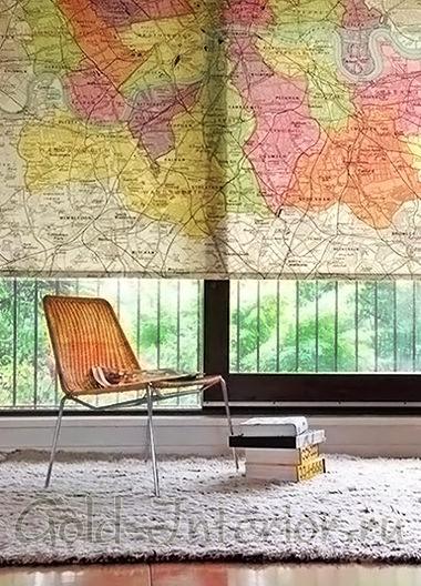Рисунок на римских шторах - географическая карта мира