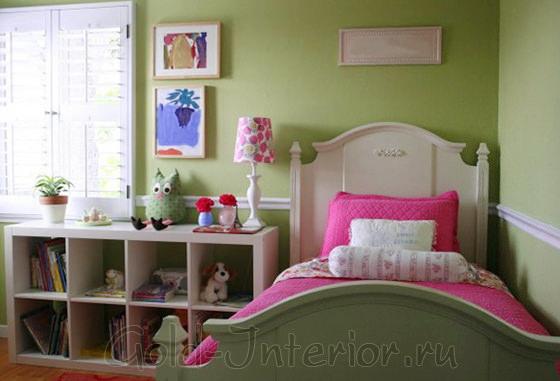 Розовый + оливковый в интерьере детской