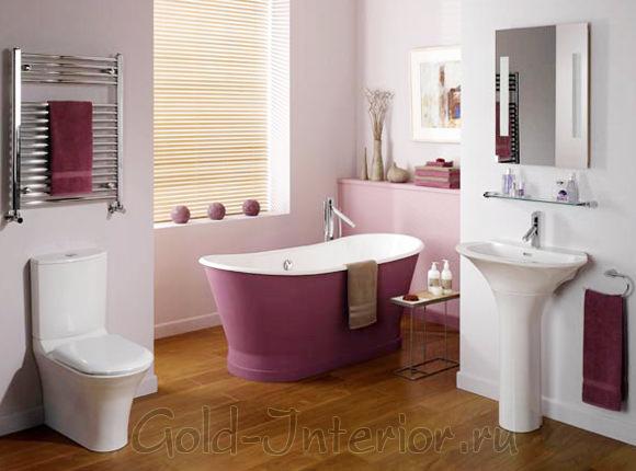 Розовый, белый и бежевый цвета в интерьере санузла