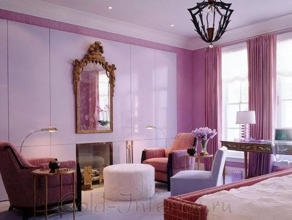 Розовый и лавандовый цвета в гостиной