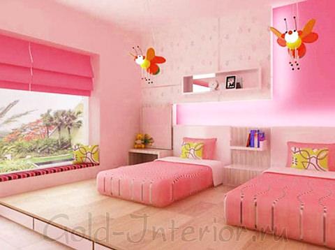 Розовый интерьер детской двух девочек