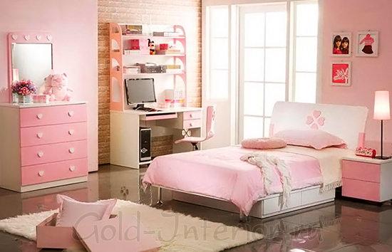 Розовый интерьер девичьей спальни