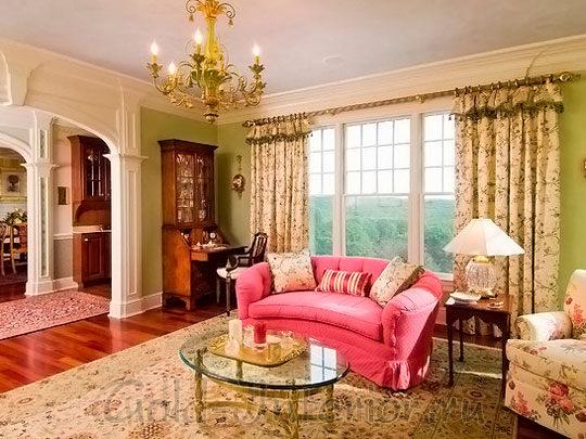 Розовый плюс ваниль и корица в оформлении гостиной