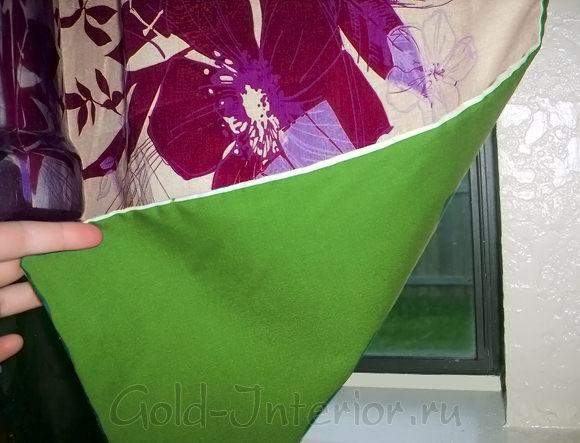 Салатовая подкладка шторы цвета фуксии