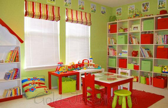 Салатовый + красный цвет в декорировании детской