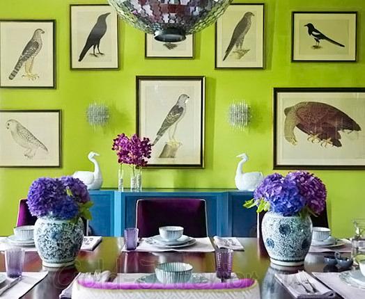 Салатовый + лазурный в интерьере столовой-гостиной