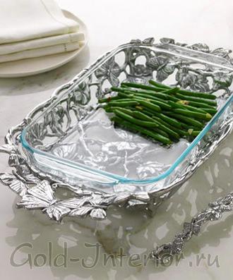 Серебрянная салатница с бабочками