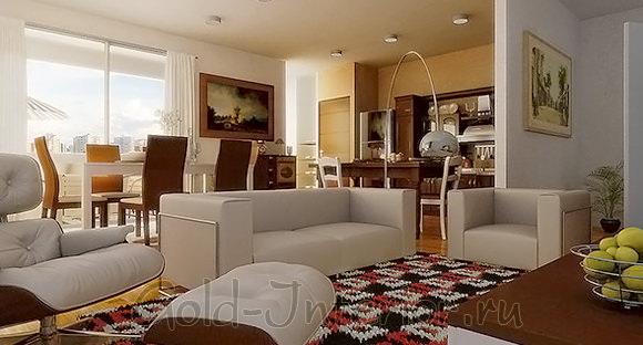 Шоколадный и ванильный оттенки в интерьере гостиной