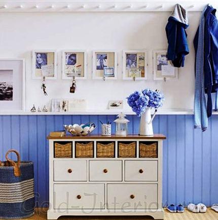 Синий + белый + плетёные корзинки = средиземноморский стиль