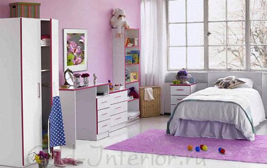 Сиреневый + белый цвет в комнате для девочки 10-12 лет