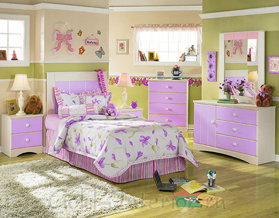 Сиреневый + фисташковый цвета в оформлении детской комнаты