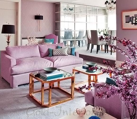 Сиреневый и бирюзовый цвет в интерьере гостиной