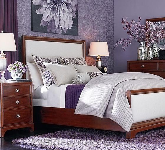 Оттенки фиолетового цвета в интерьере спальни 12 квадратных метров