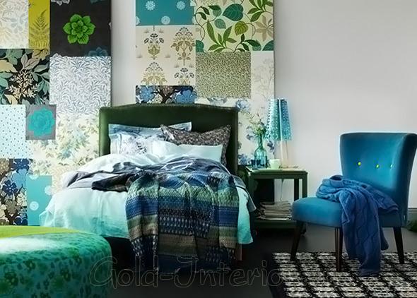 Слияние разнообразных оттенков синего и зелёного в интерьере спальни