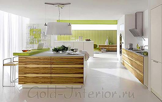 Современный интерьер кухни с бамбуковыми обоями
