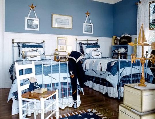 Спальня для 2 мальчиков в морском стиле