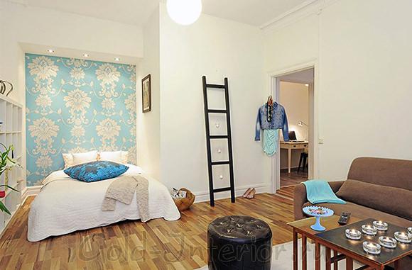 Спальня и гостиная в однокомнатной квартире