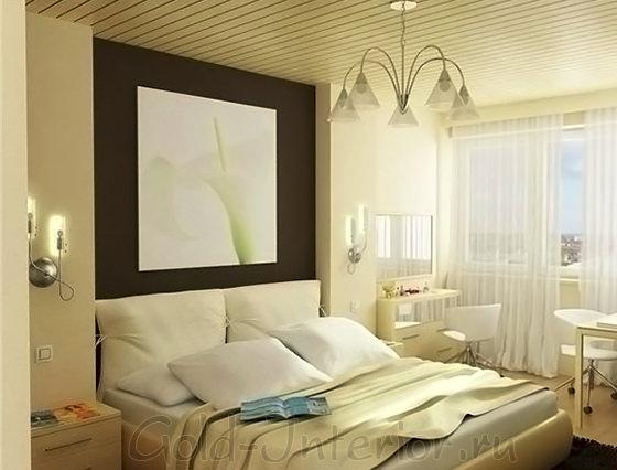 Спальня и рабочее место в одной комнате
