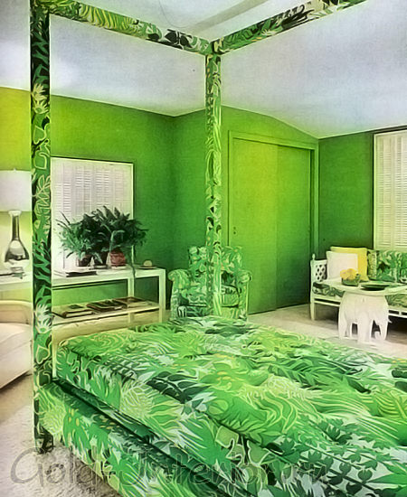 Спальня с использованием салатового текстиля и таких стен