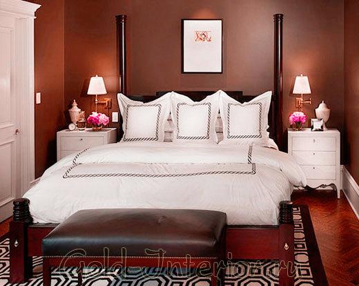 Спальня в коричневато-бордовом цвете
