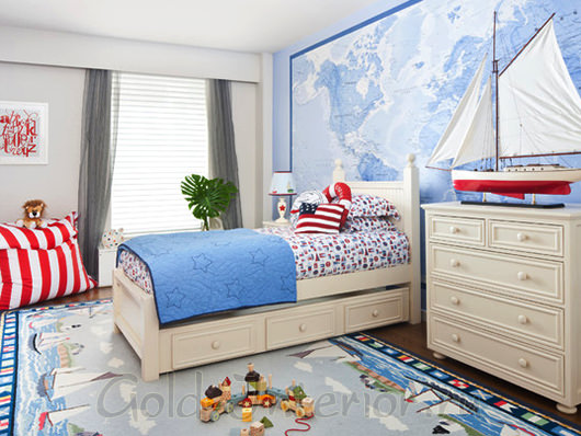 Спальня в морском стиле для мальчика 3-5 лет