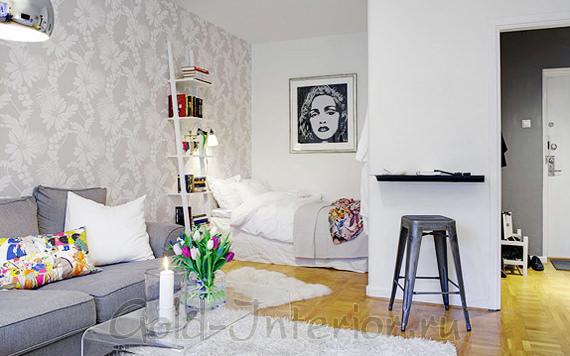 Спальня в нише в дизайне малогабаритной 1-комнатной квартиры