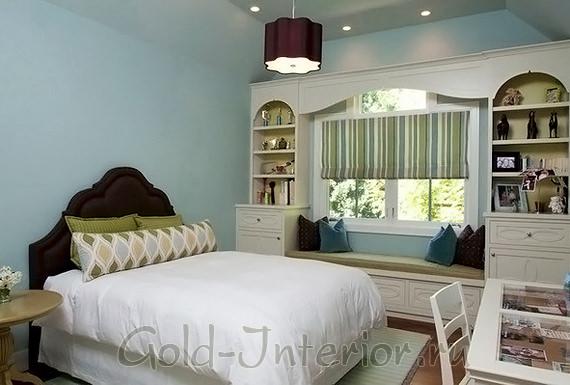 Спальня в зелёно-голубой гамме