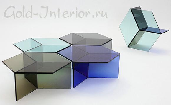 Стеклянные столы - шестиугольники