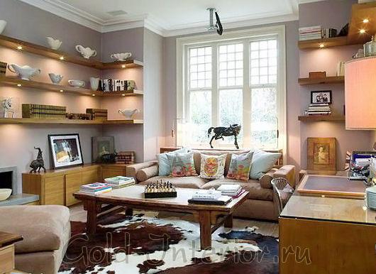 Стиль фьюжн в дизайне гостиной комнаты