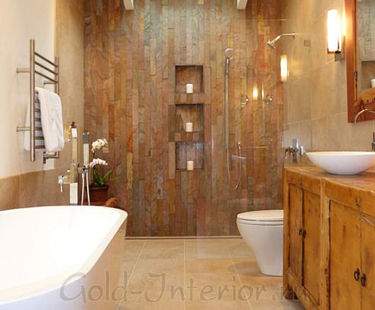 Стиль рустик в дизайне ванной и туалета