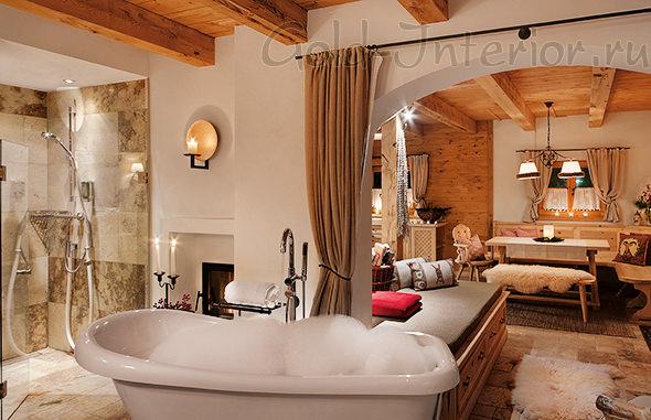 Стиль шале в дизайне ванной комнаты