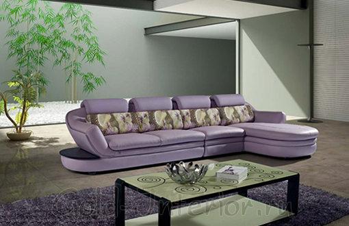 Стильный кожаный диван цвета сирени