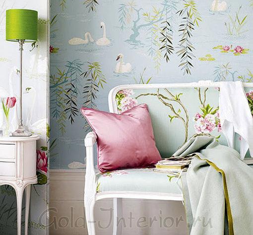 Светлый розовый и бледно-голубой в гостиной