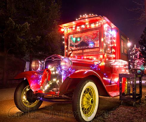 Светодиодная гирлянда twinkle light в украшении машины