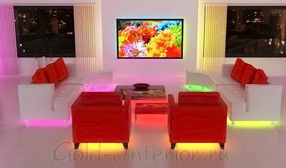 Цветная светодиодная лента под мягкой мебелью
