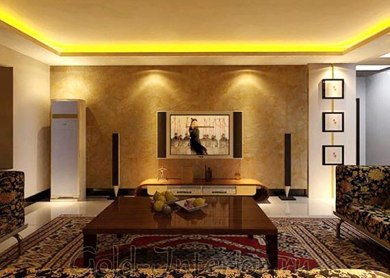 Светодиодная лента в интерьере гостиной