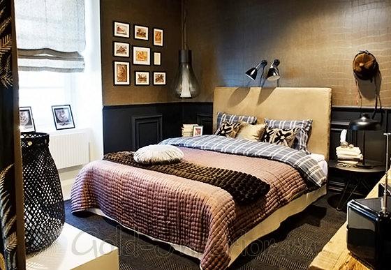 Табачный цвет в дизайне современной спальни