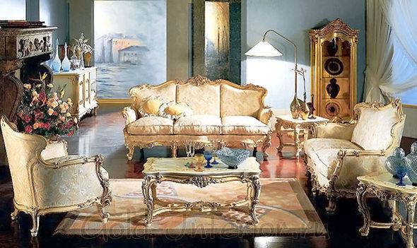 Традиционный стиль барокко в гостиной