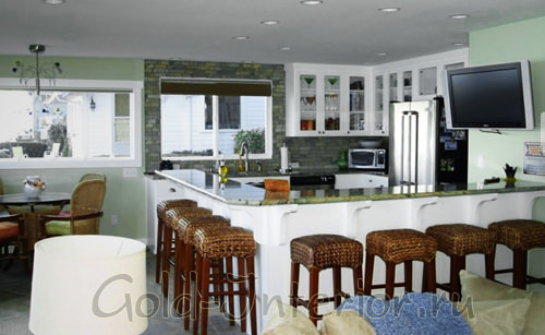 Телевизор на кронштейне в кухне